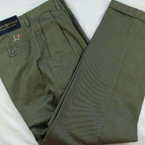 Tommy Hilfiger Men Green Pants Sz 33x32 Flat Front
